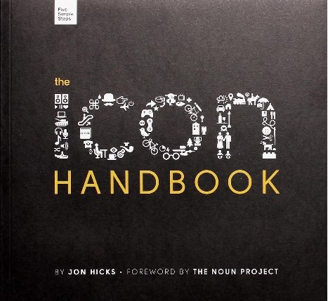 Cover of the Icon Handbook featuring the word icon constructed of small icons