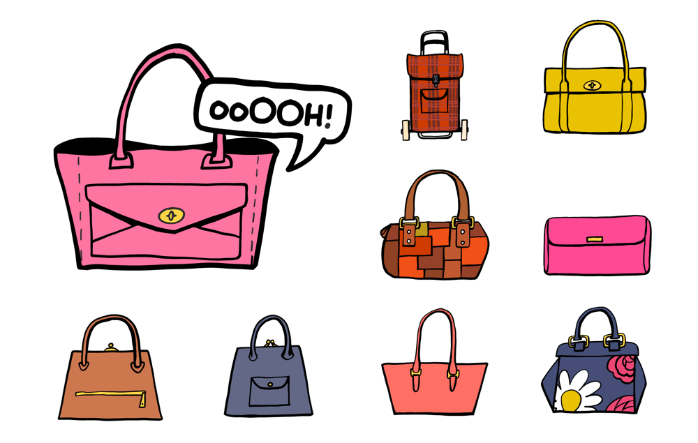 An assortment of bags, from posh Mulberry Handbags to a tartan shopping trolley